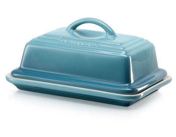 Caribbean Blue Favor Boxes : Le creuset large stoneware butter dish yuppiechef