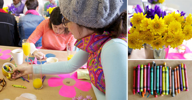 Everyone hard at play with colour and crayons at the staff breakfast