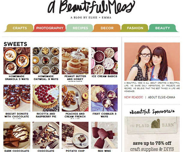 The home page of A beautiful mess' food blog