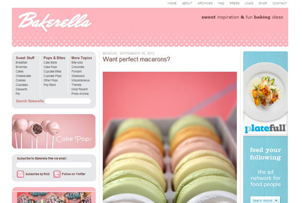 The home page of Bakerella's food blog
