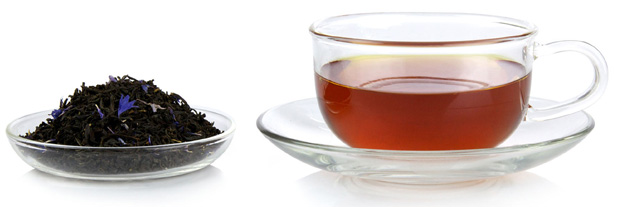 Black tea and tea leaves