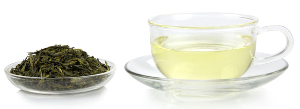 green tea and tea leaves