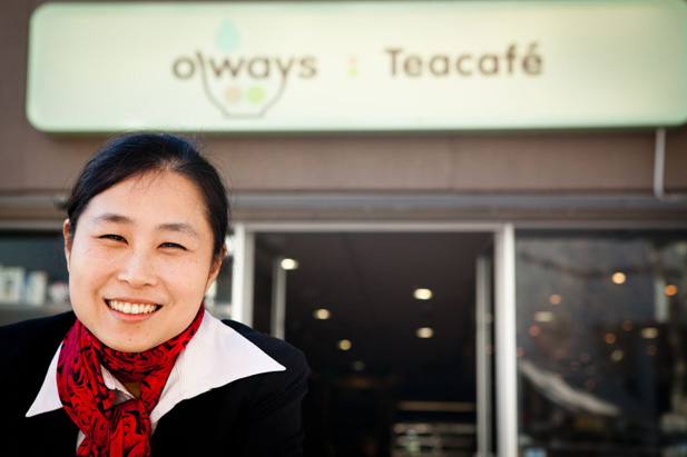 Mingwei's wife infront of Oways teacafe