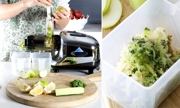 Juicing apple zinger ingredients with the Oscar juicer