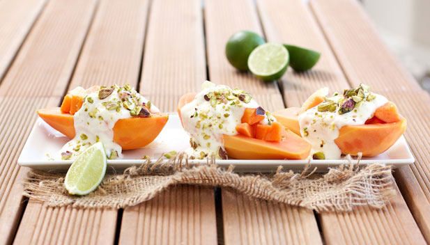 Papaya, lime, Bulgarian yoghurt and pistachio nut salad for breakfast