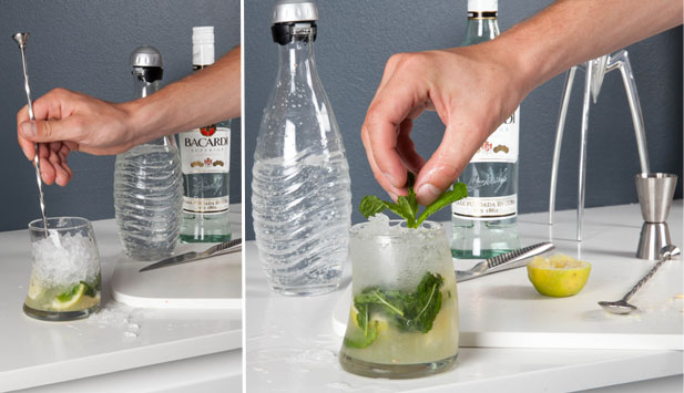 Mojito soda water and garnishing