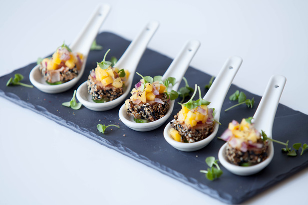 Seared sesame tuna on cucumber topped with mango and for Wedding canape ideas