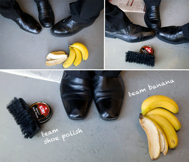 banana peel as shoe polish It all started with a rumor that banana peels could be used to polish  rub the  banana peel on your (leather) shoes, then buff them up with a.