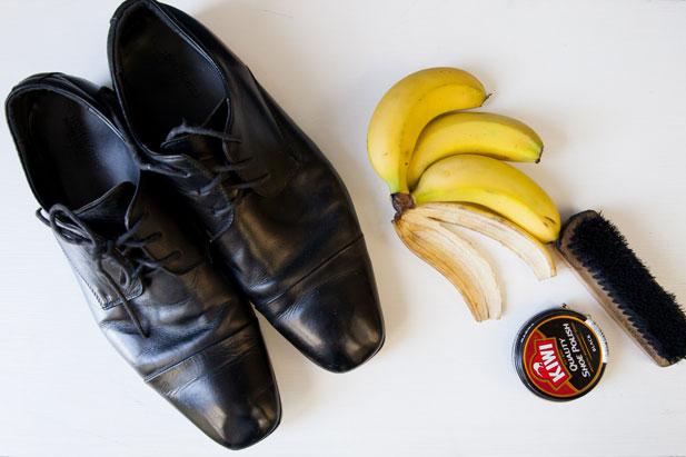 banana shoe polish Shoes, leather, silver polish: rub a banana peel on shoes, leather, and silver  articles to make them shine instantly.