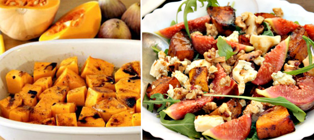 ... marinated pork with a roasted butternut, fig and blue cheese salad