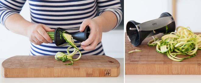 Making zucchini ribbons with the Gefu Spirelli