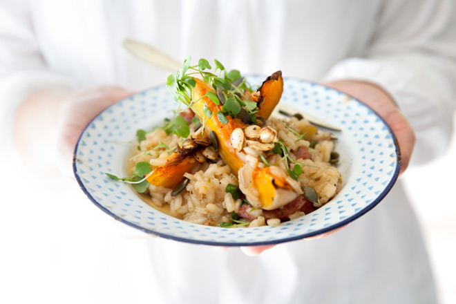 Risotto with butternut and wild rocket