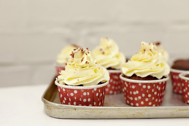 Gold dusted red velvet cupcakes