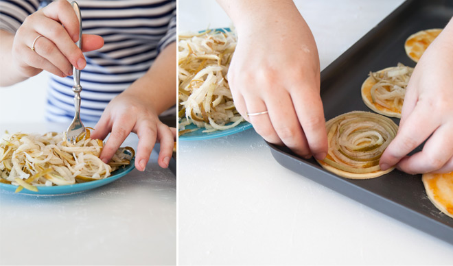 Creating your pear swirl for your pastry rounds