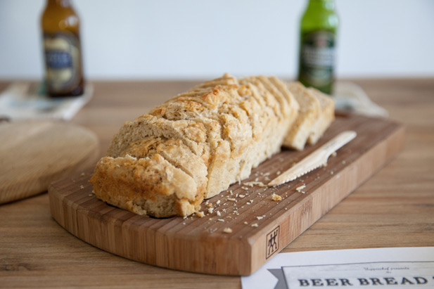 Beer bread mixed with lager