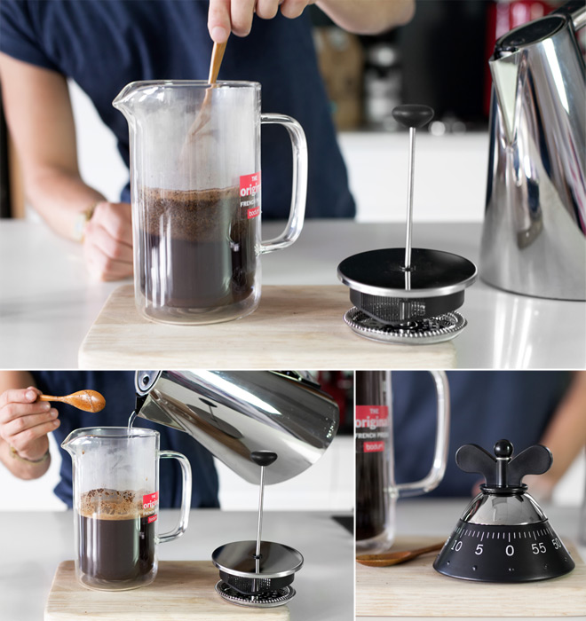 Making coffee in a french press
