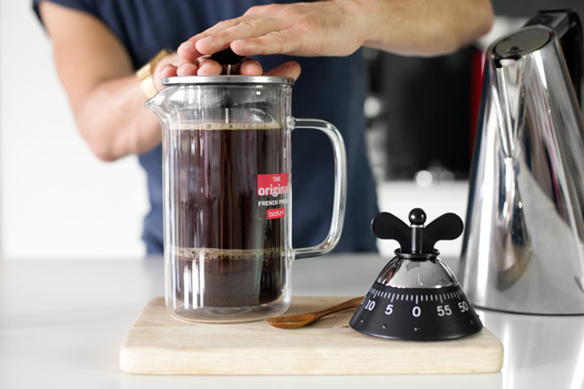 plunging coffee
