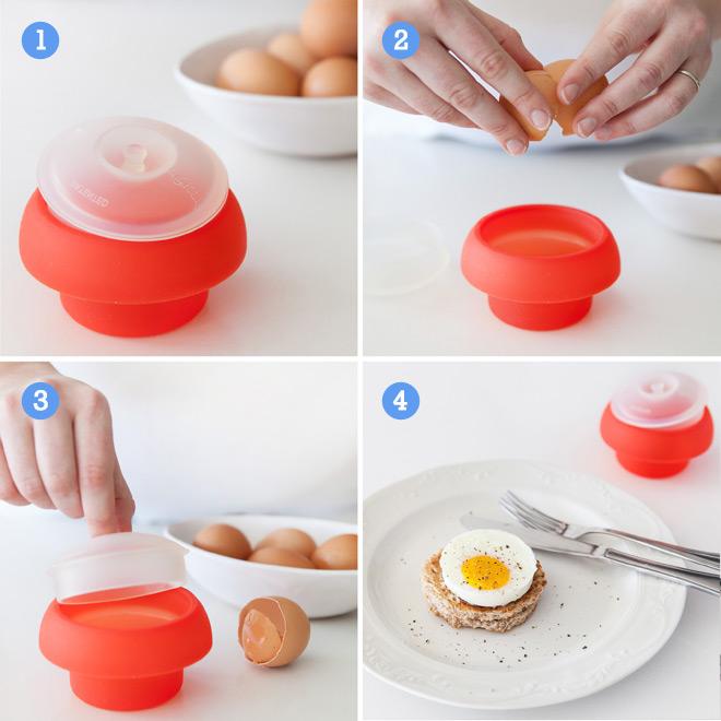 How It Works Lékué Ovo Cylindrical Silicone Microwave Egg Poacher