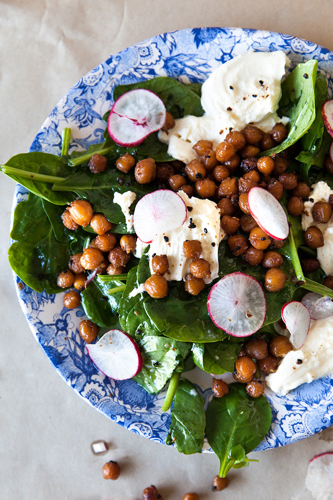 Pan-fried Chickpea Salad Recipe — Dishmaps