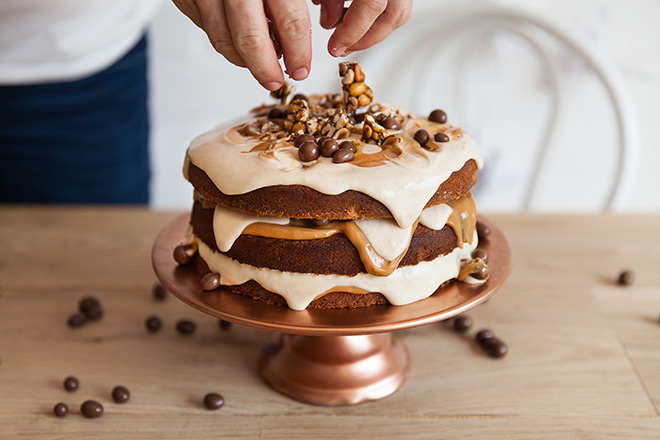 Sour Cream Layer Cake With Pecan Brittle Recipes — Dishmaps