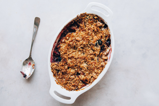 Deliciously warm fruit crumble